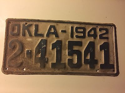 1942 Oklahoma License Plate Vintage Old OK Antique Tag