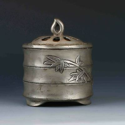 Chinese Tibetan Silver Hand-carved Bamboo Incense Burner&Lid W Qianlong Mark