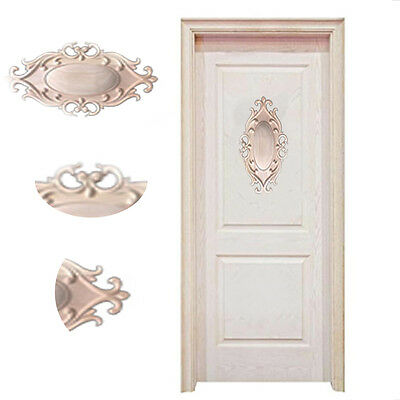 1PC Wood Carved Flower Door Pendant Home Ornament Furniture Applique Onlay Craft
