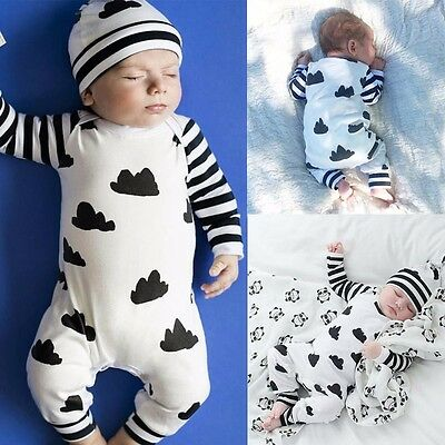 Cute Baby Girl Boy Clothes Striped Long Sleeve Bodysuit Romper Jumpsuit Outfits