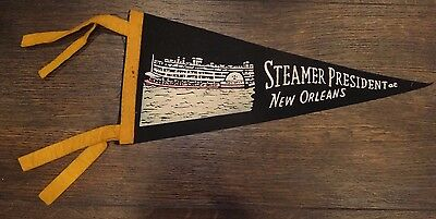 """Vintage STEAMER PRESIDENT AT NEW ORLEANS Louisiana Pennant - Approx 12"""" x 5"""""""