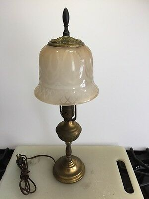 Vintage Brass Table Lamp With Etched Glass Shade