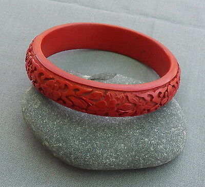 Vintage Chinese Fl Carved Cinnabar Bangle Bracelet