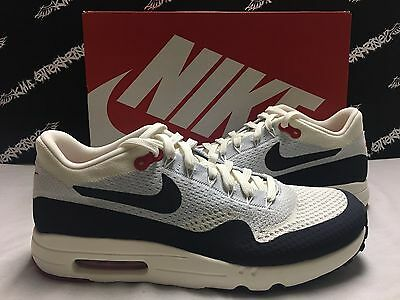 NIB Nike Air Max 1 Ultra 2.0 Flyknit Sail Obsidian Blue Red Mens 11 DS NEW 47ca72709