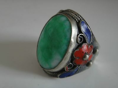 Superb tibet-silver handwork inlay green jade Cloisonne Red flower Adjust ring