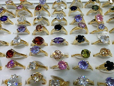wholesale Lots mixed 20pcs colorized Real CZ gold vogue lady's solitaire rings