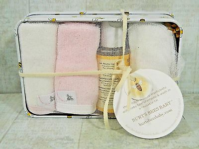 Burt's Bees Baby Girl Organic Washtime 5 Piece Pink Bath Shampoo Set New