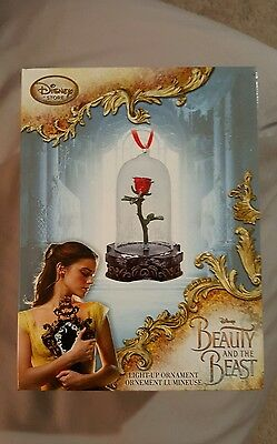 Disney Store Beauty And The Beast Live Action Light Up Enchanted Rose Ornament