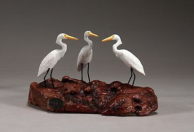 EGRET Triad Sculpture New Direct from John Perry Statue on Burl Wood 5in Long