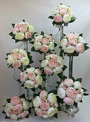 10 X Light Pink/Cream Peony Flowers Posy Artificial Silk Flower  Wedding Bouquet