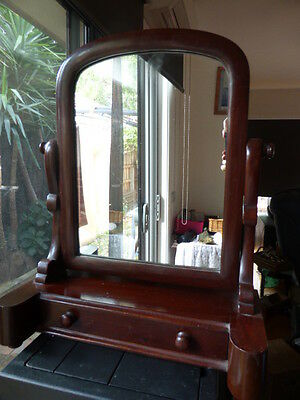 Reduced Antique Wooden Shaving Or Dresser Top Mirror,  Drawer In Vgc, .