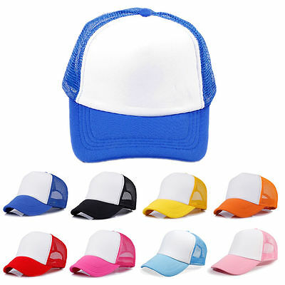 Kids Boys Baseball Cap Trucker Hat Blank Curved Hat Children Mesh Cap Adjustable