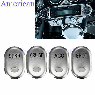 4pcs Chrome Brushed Panel Switch Cover For Harley-Davidson Touring FLHT 1996-13