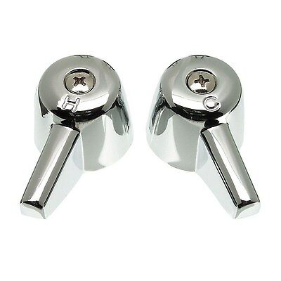 Pair of Lever Handles for Central Brass Faucets in Chrome Metal Bathroom Sink