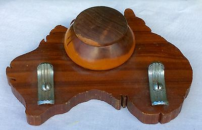 Vintage Art Deco Australia Mulga Wood & Chrome Ink Pot Fountain Pen Holder