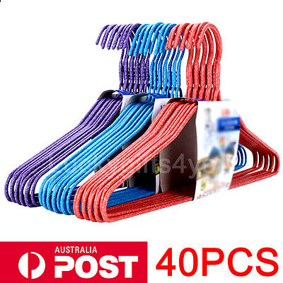 40pcs Colorful Metal Wire Clothes Hangers Suit Coathanger Pants Wardrobe Storage