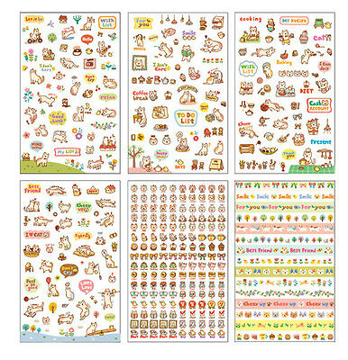 6Pcs Cartoon Cat Story Stickers Scrapbook Calendar Diary Planner Decor Craft DIY
