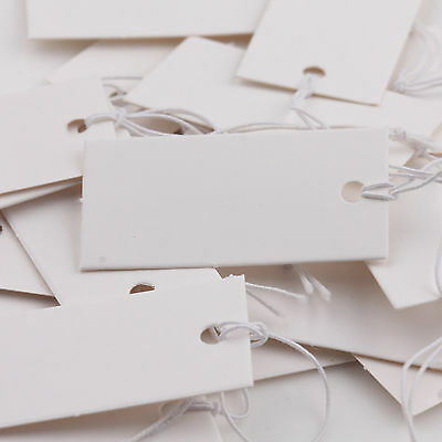 100X White Blank Paper Label Price Tags With Elastic Jewelry String 40x20mm DIY