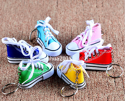 Canvas Mini Hi Top Sneaker Tennis Shoe Key Chain Multi-color optional