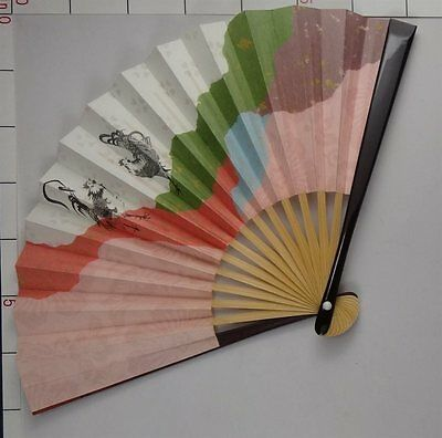 YU139 SENSU Japanese Fan Art Nihonga Picture Geijyutu Traditional crafts tea