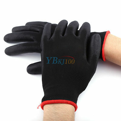 Nylon PU Safety Coating Work Gloves Builders Palm Protect S M L 12/24 Pairs UK