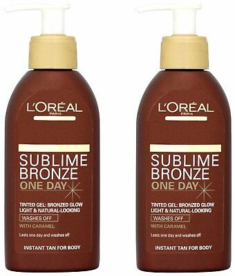 2x L'Oreal Sublime Bronze One Day Tinted Gel 150ml Instant Self Tan With Caramel