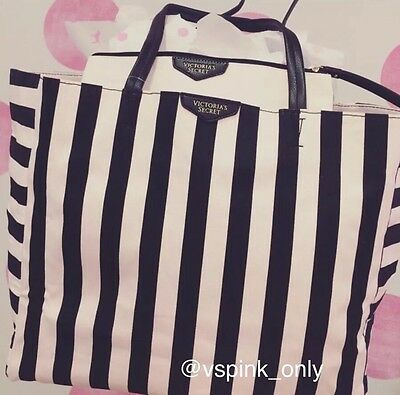 Victoria's Secret Limited Edition TRAVEL Beach Tote Bag & Pouch Pink-Black Strip