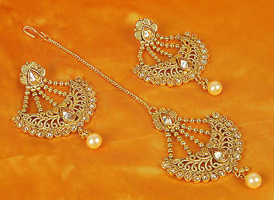MT- 2317 Bollywood Wedding Earring Maang Tikka Set Crystal Stone Indian Jewelry