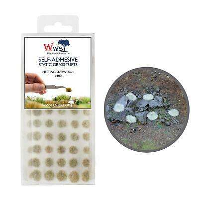 WWS Melting Snow Grass 2mm Self Adhesive Static Grass x 100 Tufts SNO002