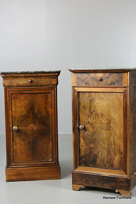 Pair Vintage Antique Walnut & Marble French Bedside Cabinets