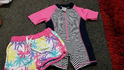 Girls Size 1 zip up Rashie and Board Shorts