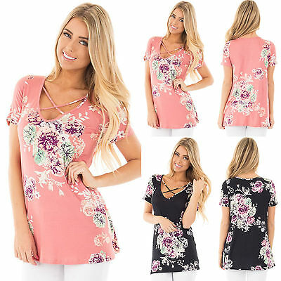 UK Womens Short Sleeve Crew Neck Floral T-Shirt Ladies Summer Casual Tops Blouse