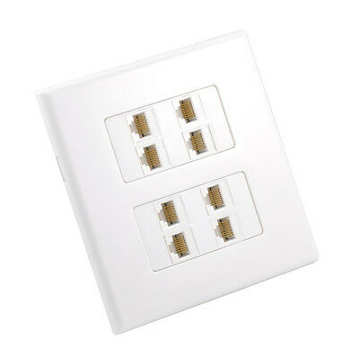 Cat6 Wall Plate 8 Port - Inline Coupler