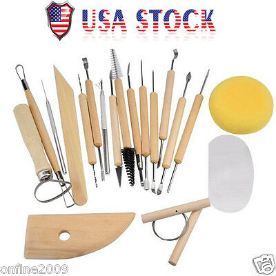 19 Piece Pottery Tool Sculpting Wax Carving Pottery DIY Tool Modeling Ceramic US