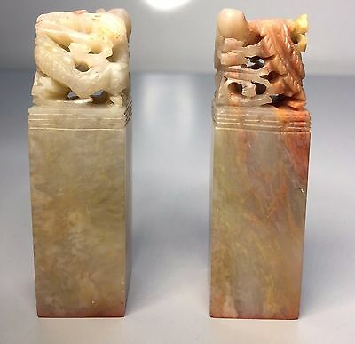 2 Antique Chinese Carved Soapstone Chops Seals w/Ink