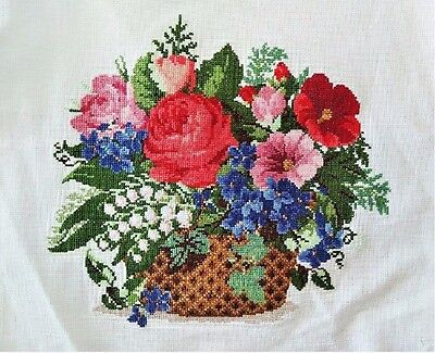 "New Finished Cross Stitch Needlepoint""Flowers Basket""Wall Home Decor gifts"