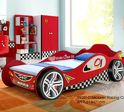 NEW KIDS BOYS 3D Wheel RACING CAR Single BED Childrens BEDROOM RED TIMBER SLAT