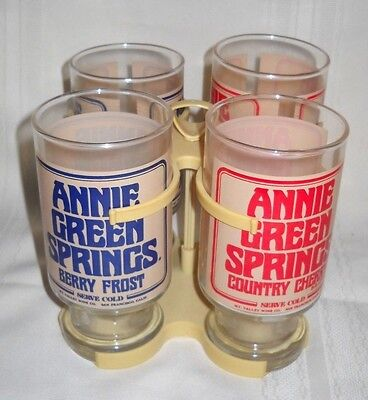 Vintage Set Of 4 Annie Green Springs Berry & Cherry Glasses With Carrier (8449)