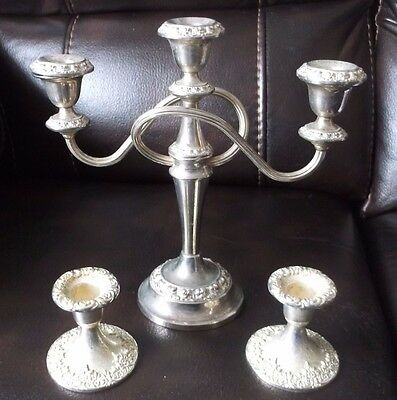 Vintage IANTHE Silver Plated Candelabra with 2 separate candle holders