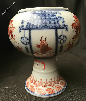 13cm China Qing Dynasty 乾隆 Old Antique Porcelain Pottery Dragon Brush Washer Pot