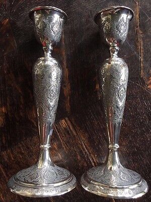 Solid Silver Pair Antique Qajar Persian Candlesticks. c1920.436gms