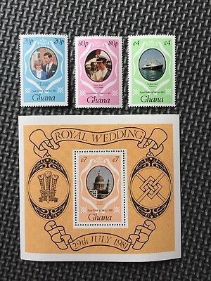 Ghana - Royal Wedding 1981 - Set Of Stamps & Miniature Sheet All MNH