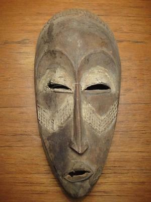 African Tribal mask antique ochre polychrome ancestral carved 40cm 1960's rare