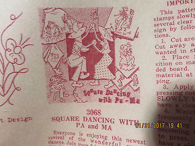 VINTAGE TRANSFER PATTERN  - SQUARE DANCING with PA & MA