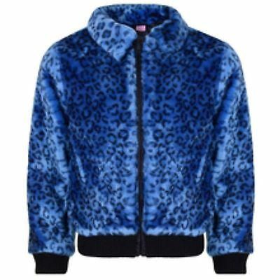 Girls Adams Blue Leopard Print Fur Look Jacket 2-10 Years brand new RRP £26.99