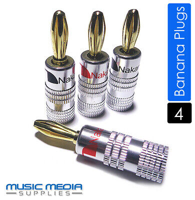 4x NAKAMICHI Gold Plated Speaker Connector Banana Plugs Loudspeaker Hi-Fi amp