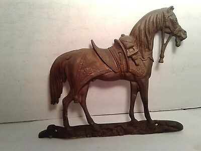 """Vintage Solid Brass Horse Wall Ornament Plaque: 8"""" Long x 6 1/2"""" Tall"""
