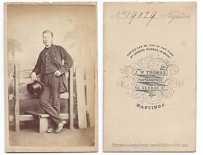CDV Gentleman With Top Hat Carte De Visite Photograph By Thomas Of Hastings