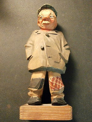 Vintage Carl Olof Trygg Old Man Woodcraving #4396 1958  Woodcarver O.c. Trygg