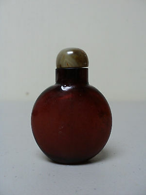 ANTIQUE CHINESE NATURAL CHERRY AMBER SNUFF BOTTLE, AGATE STOPPER w/ SPOON
